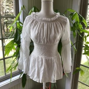 Tops - White Peasant Shirt w/Lace Trim and Bell Sleeves